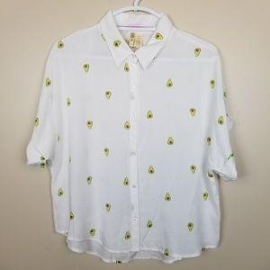 Japna Avacado button down rayon shirt size L